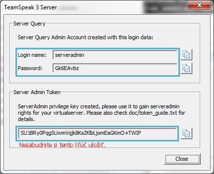 TeamSpeak server tokens