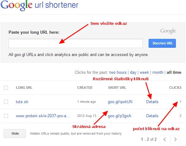 Skracovač url google