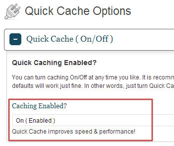 QuickCache enabled