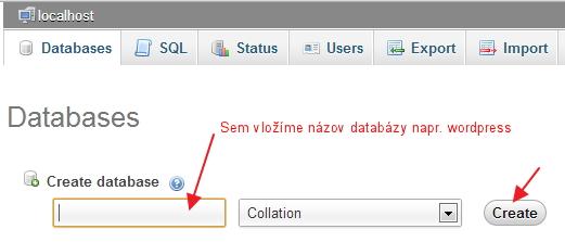 Vytvorenie databázy